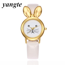 YANGTE Cartoon 3 pcs Children' Watch Cute Rabbit ears Wristwatch Fashion Girls Kids leather Quarts Watches Students Clock O17