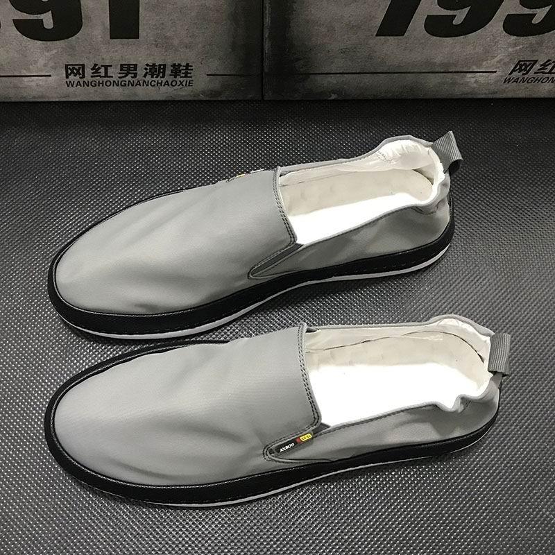 Hombre gris Zapatos Nuevo Pisos Transpirable Grey 43 Moda Negro Confort Casual Redonda Slip De Diseñador Ocio Errfc Lona En Negro Para Punta tSBB1