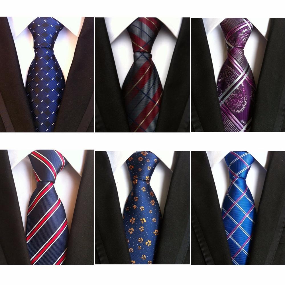 RBOCOTT Men's Tie 8cm Plaid Tie Purple Black Floral Ties Blue Striped Necktie Red Wedding For Men Suit Accessories