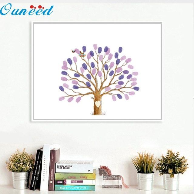 Ouneed 40x30cm Wedding Tree Fingerprint Guest Book Wedding Gift