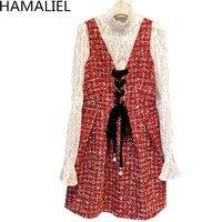 HAMALIEL De Luxe Femmes 2 Pièce Ensemble 2018 Printemps Wihte Dentelle Évider Flare Manches Blouse + Rouge Tweed Gilet Col V Arc Jupe Ensemble