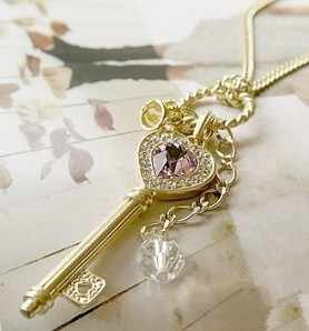 Korean Purple Crystal love gold plateden crown key necklace sweater chain Fashion Crystal Necklace
