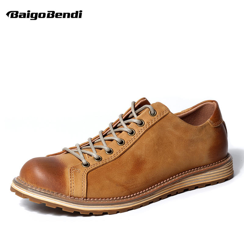 US6-9 Brand New Genuine Leather Mens Oxfords Business Man Round Toe Lace Up Retro Wedding Shoes Autumn brand new 2015 6 48 288 a154