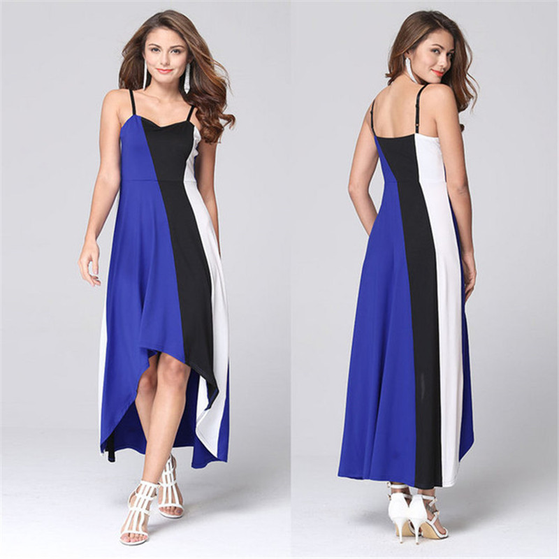 product New2017 Brand Sexy Plus Size Dress Selling European Women Dresses A-Line stripe Sleeveless Harness V-Neck In the Dress vestidos