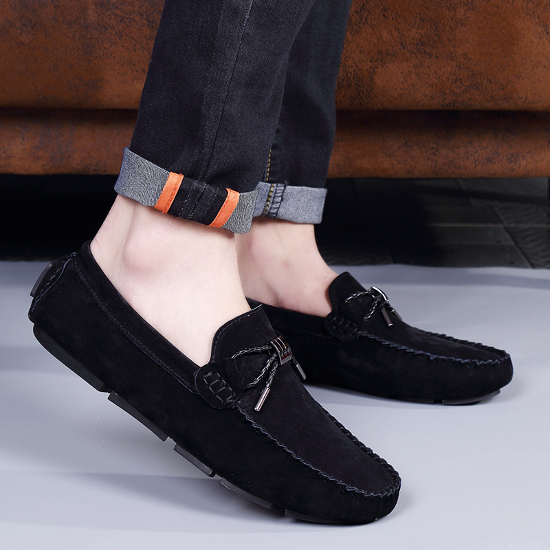 Loveontop 2019 Males Flats Loafers Snug Breathable Man Cow Suede Slip-On Males's Informal Leather-based Male Moccasins Driving Footwear
