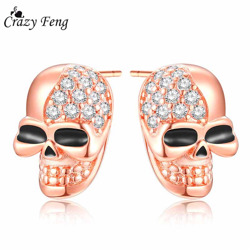 Crazy Feng Steampunk Skull Skeleton Stud Earrigs for Women Austrian Crystal Little Earrings Rose Gold Color Statement Bijoux