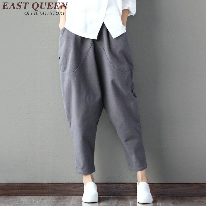 New autumn baggy pants women solid linen trousers women hip hop patchwork harem pants elastic waist pencil trouses KK1035 HQ 1