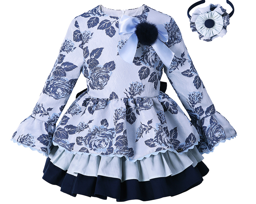 Pettigirl Blue Grace Flower Girls Vintage Dress Spring And Autumn Children Clothes Casual Wear For Kids G DMGD008 B98 958-in Dresses from Mother & Kids