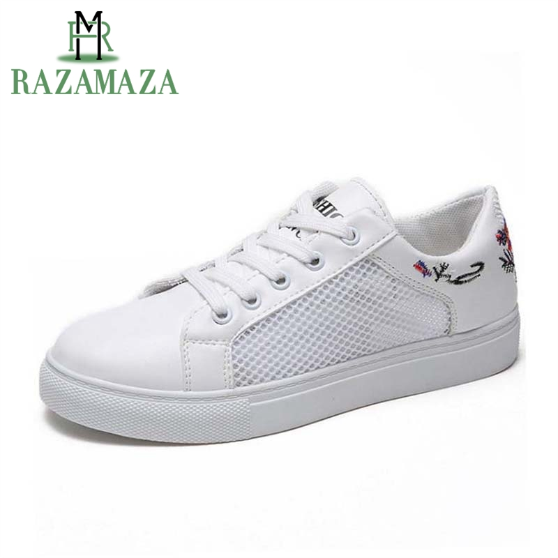 RAZAMAZA Women Flats Round Toe Lace Up Print Hollow Out Women Shoes Casual Sneakers White Shoes Holidays Footwear Size 35-39
