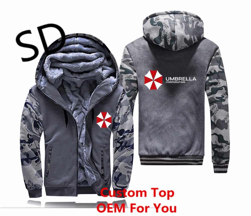 Dropshipping 3D Hoodies Homens Umbrella Corporation Camisola Homens Hoodies camuflagem Do Vintage Zipper Tops do Revestimento do revestimento