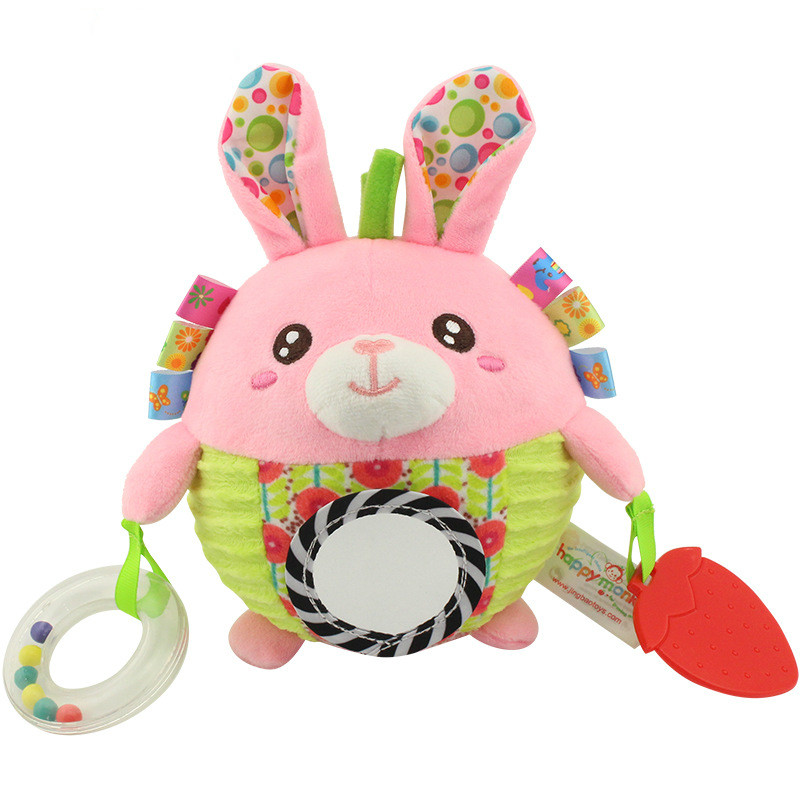 Baby pink rabbit hand grab bell, bed bell toy, gutta percha, infant coordination ability exercise puzzle toy. .