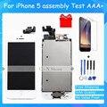 Класса AAA Полный Набор Сенсорного Экрана Digitizer LCD Дисплея Ремонт Ассамблея Замена для iPhone 5 ЖК-Дисплей + Закаленное стекло + инструменты