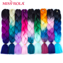 Miss Rola Synthetic Jumbo Braids Hair 100g 24 inch High Temperature Fiber Jumbo Brading Ombre Crochet Braiding Hair Extensions(China)