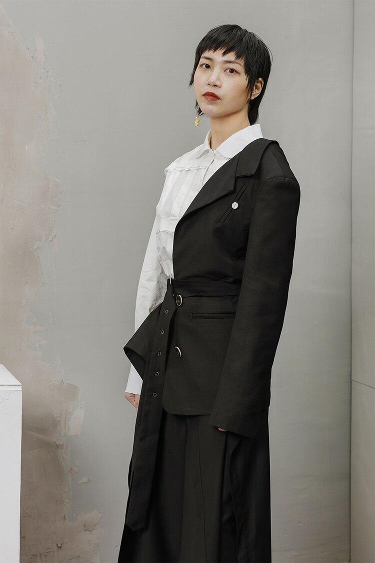 Robe cou V J824 Femmes Mode Unique Moitié oloey2018 Asymétrique Partie Veste Vêtements Ajuster Pour Manches Black Nouvelle Taille Avec Ceintures m0NOvnw8