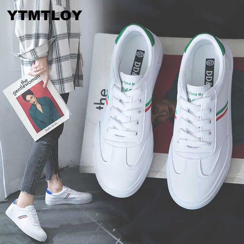 2019 Women Fashion Breathble Vulcanized Shoes Casual Tenis Feminino Zapatos De Mujer Slimming Cheap White Sneakers Striped  W669