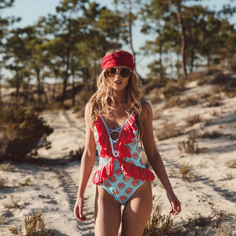 Sexy Corset Women Floral Printing One Piece Swimsuit Sex Deep v Swimwear Women Bandage Bustiers Lace-Up Female Beach Wear