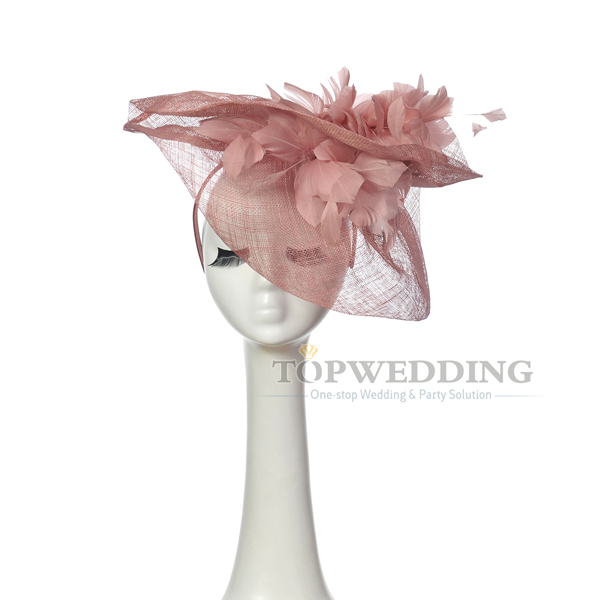 New Free Shipping Sinamay Gray-Pink Bridal Fascinator Hat Kentucky Derby  Wedding Races Party Church Hats Feather Headpiece f27d81e2ed8