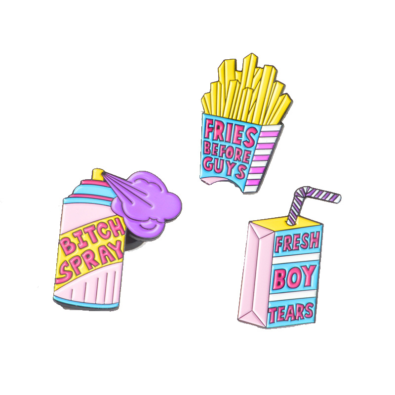 Creative Pin Fresh Boy Tears Fries Before Guys Bitch Spray Pins Enamel Lapel Pins Badges Brooch Gift For Women Girl Cute Pins