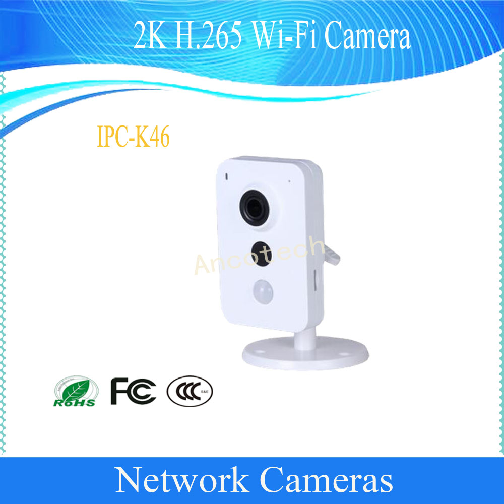 Livraison gratuite DAHUA 2K H.265 WIFI sécurité IP caméra 4MP jour/nuit réseau maison caméra DH-IPC-K46