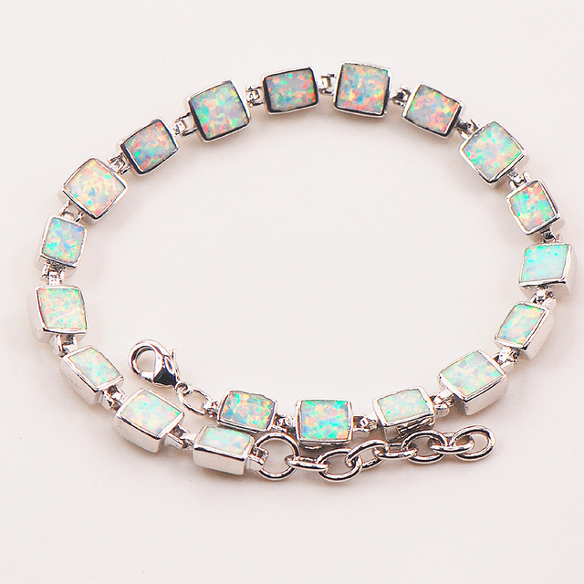 "White Fire Opal 925 Sterling Silver Bracelet  P89 8""  Free Ship High quantity Factory price"