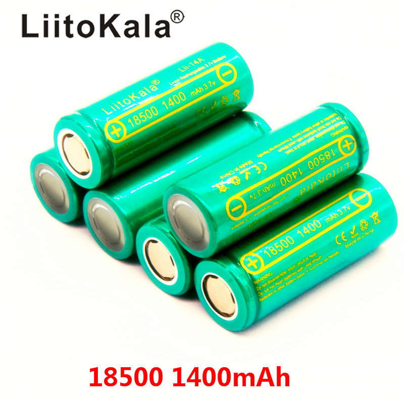 LiitoKala Lii-14A 18500 1400mAh 3.7V 18500 Battery Rechargeable Battery Recarregavel Lithium Li-ion Batteies For LED Flashlight
