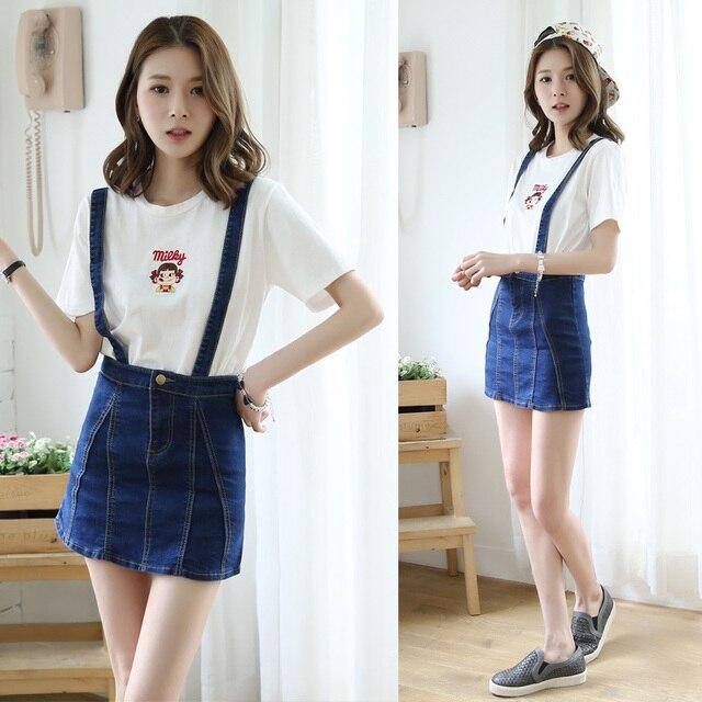 7daf3c8a4da 2015 women s Jumpsuit Denim jeans short skirt Summer fashion casual high  waist stretch denim Korean slim straight 100% Cotton