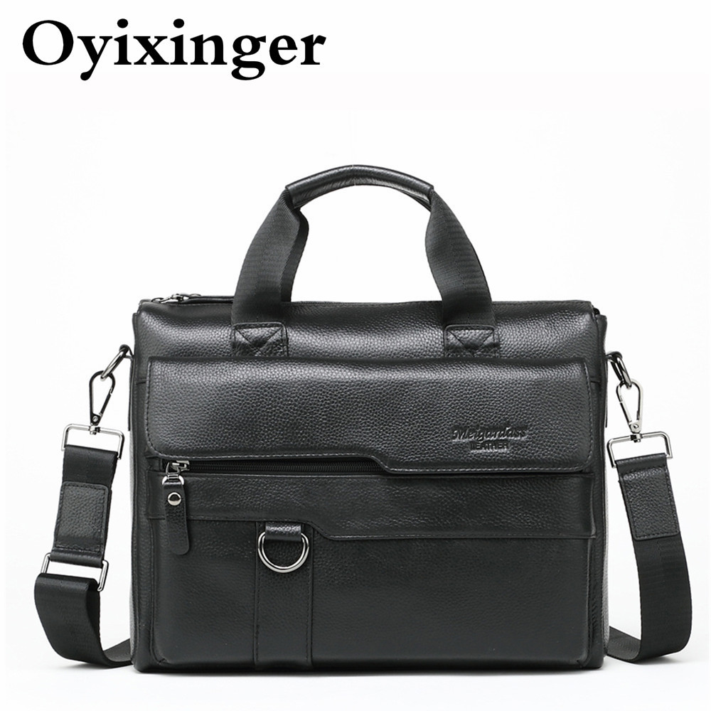 Genuine Leather Man Briefcase Shoulder Messenger Bag Men Cowhide Tote Male Mens Office Handbag Work Bags Bolso Bandolera Hombre