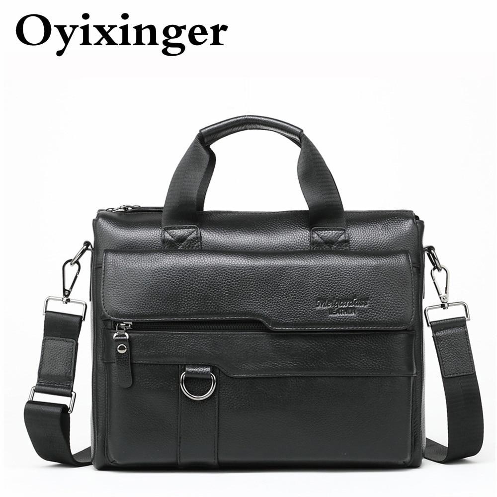 Genuine Leather Man Briefcase Shoulder Messenger Bag Men Cowhide Tote Male Mens Office Handbag Work Bags Bolso Bandolera Hombre