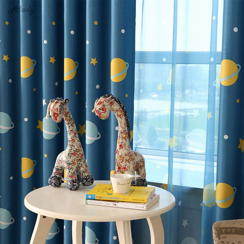 1pcs Blue Planet Cartoon Baby Boy Blackout Curtains For Children Room Cortina Para Quarto Living