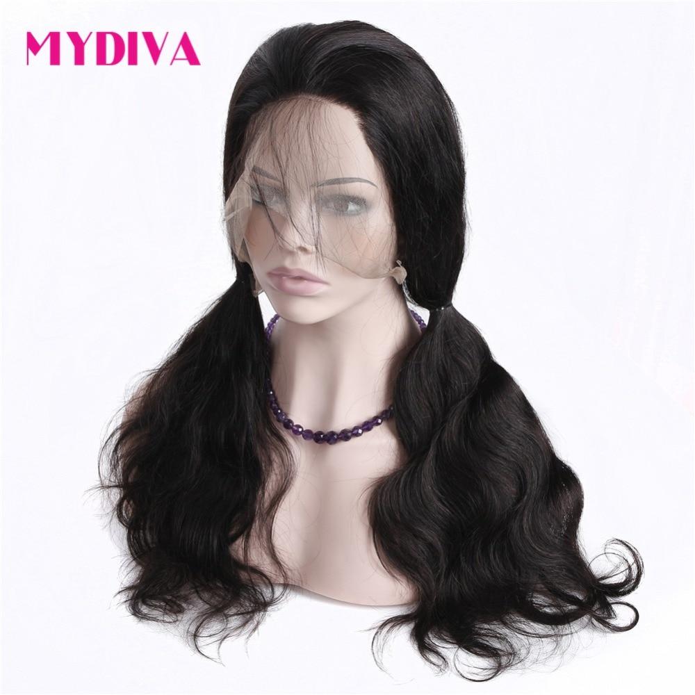 Mydiva предварительно сорвал 360 Синтетические волосы на кружеве al парики для Для женщин Малайзии тело волна Синтетические волосы на кружеве че...