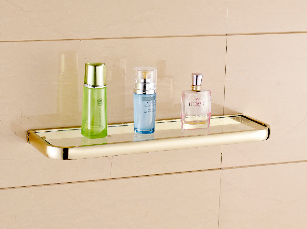 Modern Fashion Golden Bathroom Glass Shelf Shower Caddy Cosmetic Storage Holder auswind 2 layer silver corner basket bathroom products luxury cosmetic storage bathroom shelf holder bathroom accessorie pf10