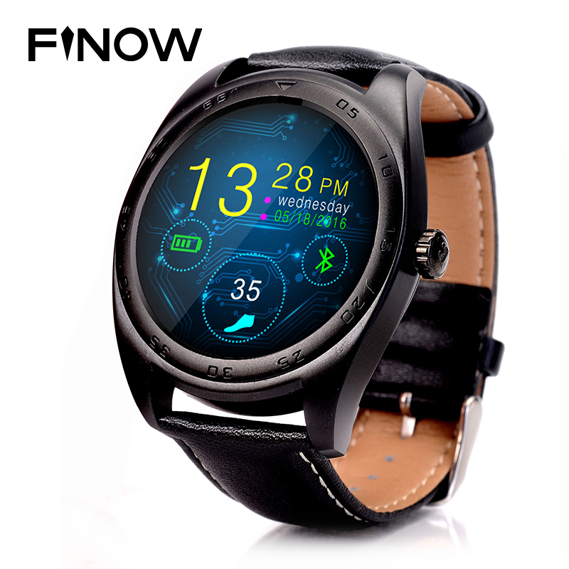 FINOW K89 Smart Watch Round Screen 1.2inch IPS Smartwatch Heart Rate Monitor Bluetooth Watch with mic for iphone IOS Android