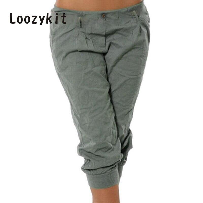 LOOZYKIT Women's Fashion Cotton Linen Short Pants Capris Casual Loose Solid Elastic Waist Female Plus Size Sweatpants Trousers