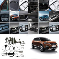 28* Black/silver /Blue Stainless Steel Interior Accessories Kit Decoration Trims for Peugeot 3008 3008 GT Allure 2016 2017 2018