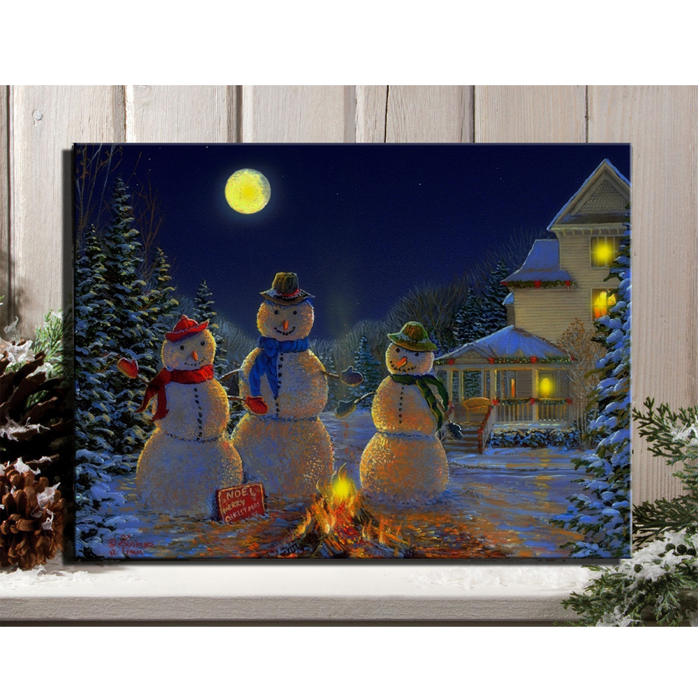 canvas wall art with led lighted up snowmen around the fire under the moon at christmas night. Black Bedroom Furniture Sets. Home Design Ideas