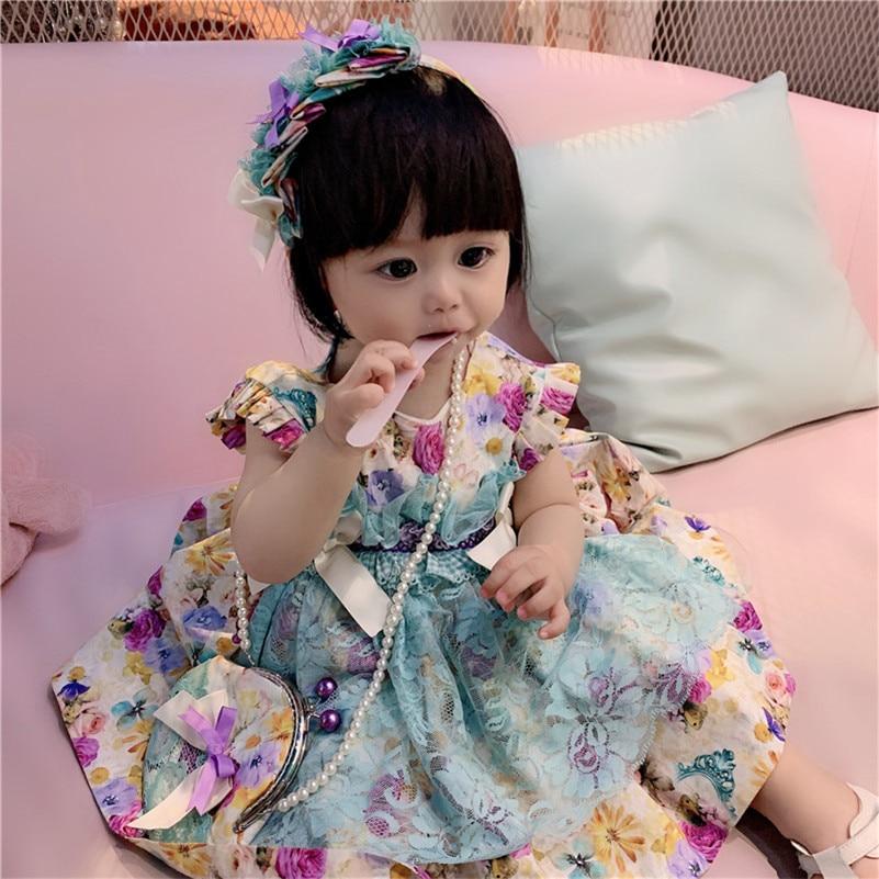 Nova Garota Verão Emerald Lace Estilo Espanhol Vestido de Algodão Lolita Vestido de Princesa Vestido de Arco Do Vintage Vestido de Festa para Meninas Vestir g044