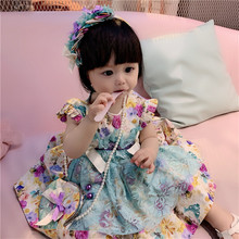 New Summer Girl Emerald Lace Cotton Lolita Princess Dress Bow Gown Vintage Spanish Style Dress Party Dress for Girls Dress G044 menoea girls dress 2017 new summer lolita style striped dress bow sleeveless turn down collar design for baby girls dress 2 6y