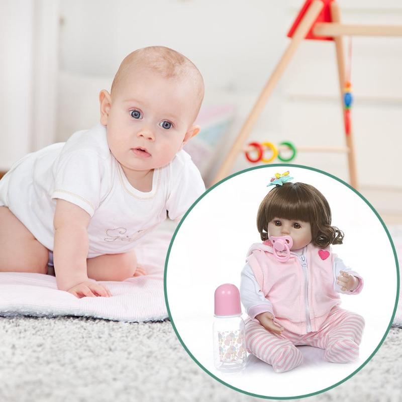 47cm Vinyl Simulation Reborn Baby Doll Kids Realista Baby Doll with Clothes Girl Lifelike Playmate Toy Children Birthday Gift47cm Vinyl Simulation Reborn Baby Doll Kids Realista Baby Doll with Clothes Girl Lifelike Playmate Toy Children Birthday Gift