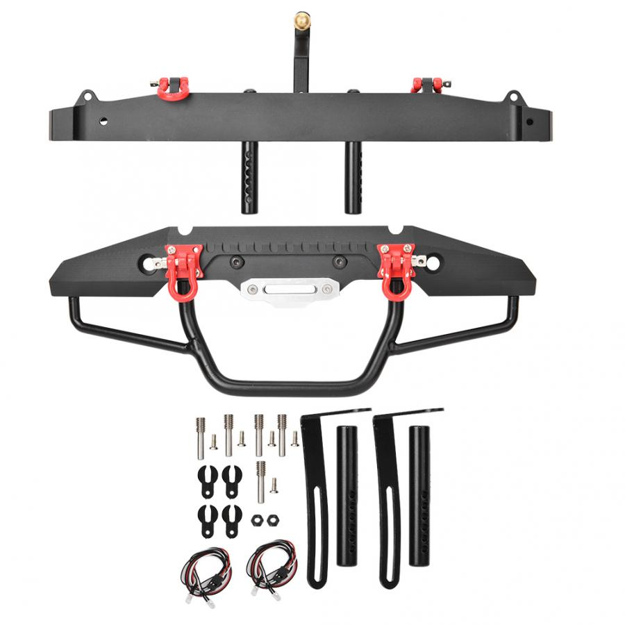 LED pare-chocs avant et arrière avec crochet de remorque en alliage d'aluminium RC pare-chocs arrière de voiture pour 1/10 TraxxasTRX-4/SCX10II 90046 RC accessoires de voiture