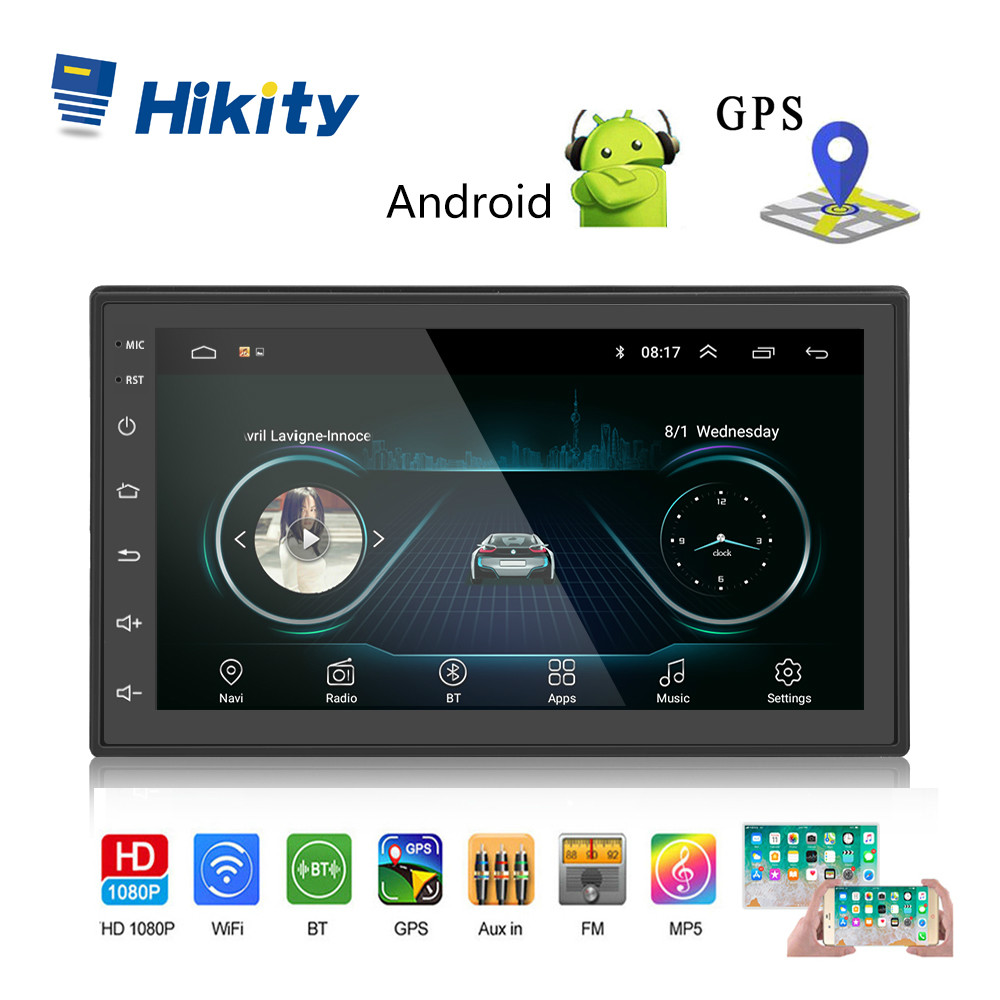 Hikity 2 din Car Radio Android 7 HD Autoradio Multimedia Player GPS Touch Screen Auto audio