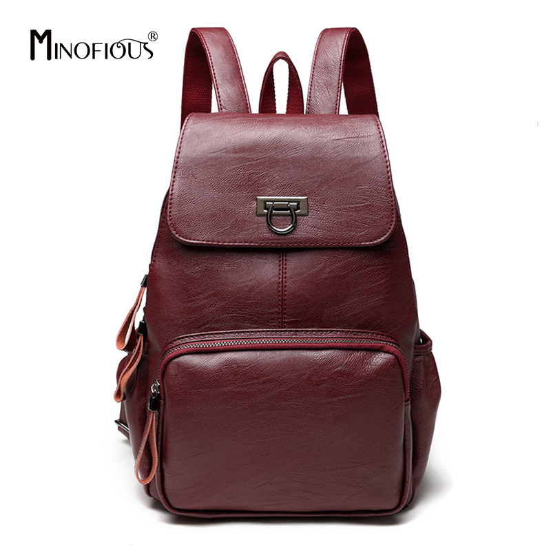 MINOFIOUS Women Genuine Leather Backpacks Students School Bags Teenagers Girls Small Backpacks Fashion Travel Backpack mochilas цены