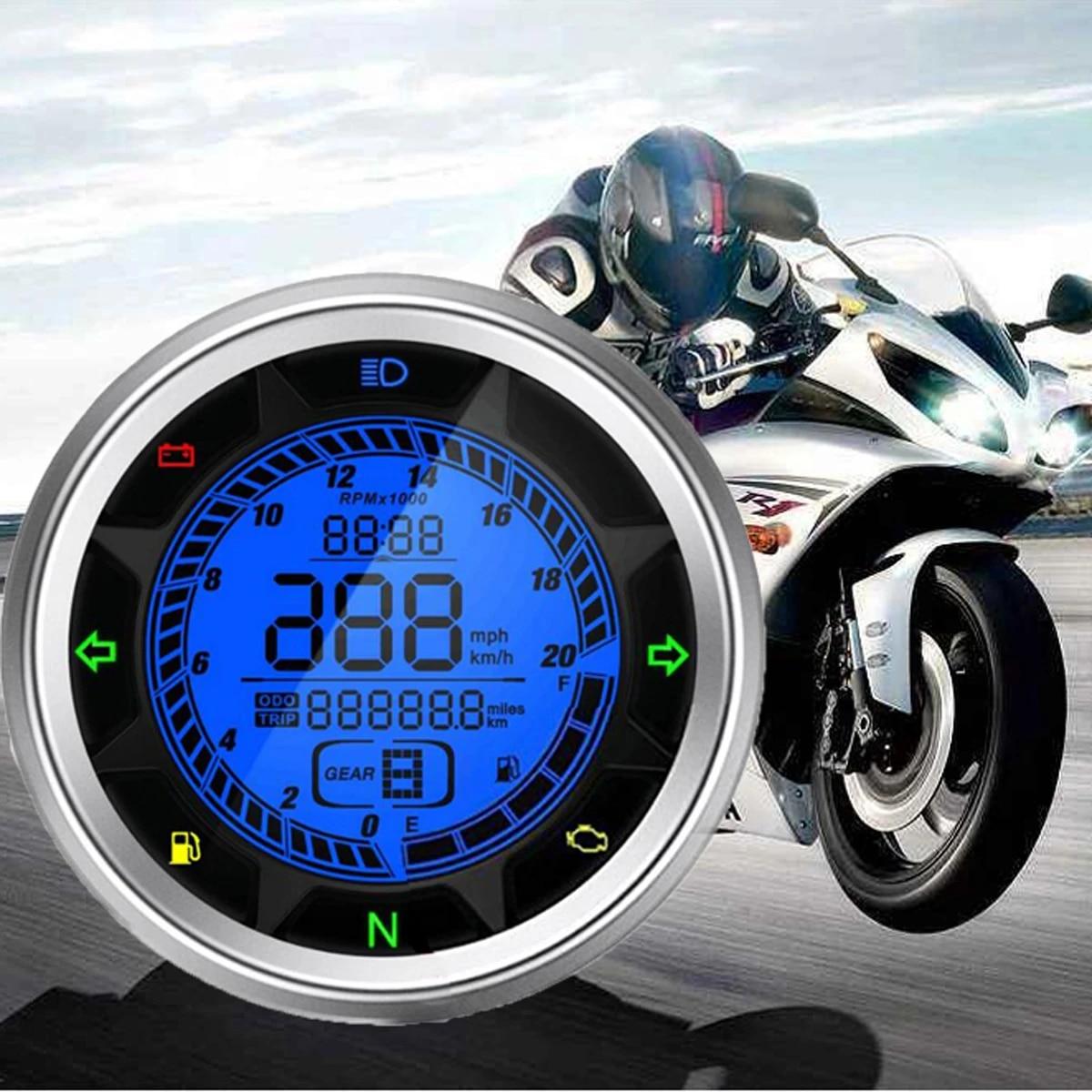 Dogggy Motorrad ge/ändert Universal LCD Digital Tachometer Kilometerz/ähler Fl/üssigkristallinstrument einstellbare Geschwindigkeit elektronische Digitale Kilometerz/ähler f/ür Motorrad