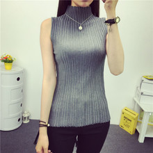 Women's spring summer stand collar knit vest pullovers 2016 new hot sale woman knit elastic sweaters sleeveless 7 colors