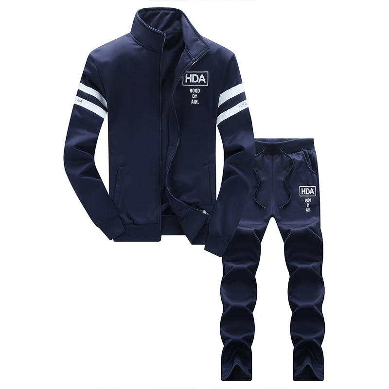 Men's Sports Set 2Pcs Stand Collar Zipper Fashionable Casual Set New Sportswear Autumn Suit Clothes Tracksuits Male