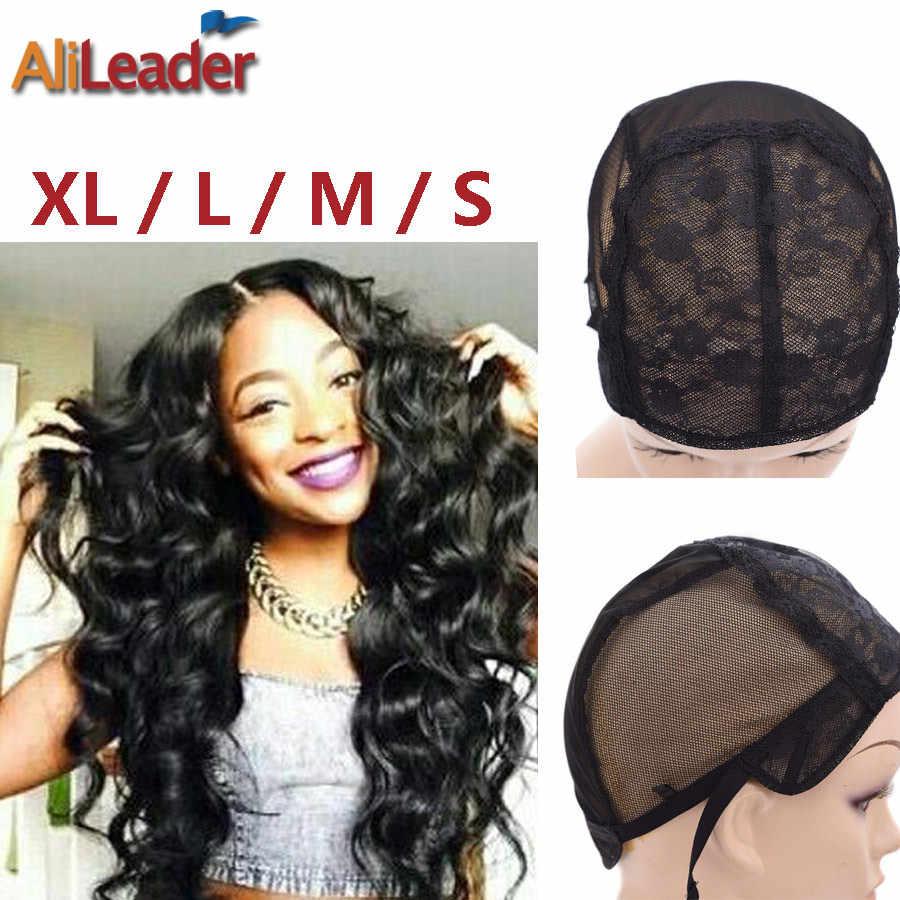 Заводские магазины XL/L/M/S швейцарские кружева парик шапки для изготовления парики с регулируемыми ремнями 10 шт./лот черные волосы парик Чистая ткачество шапки