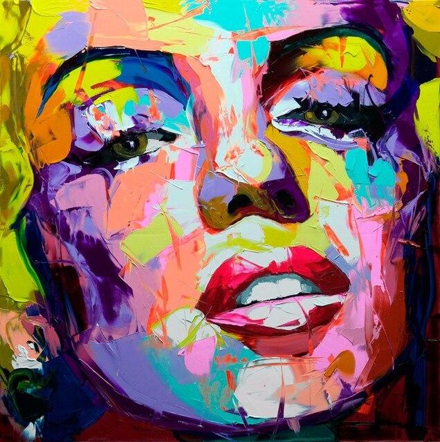 Très Abstraite Femme Visage Art Peinture À La Main Moderne Peinture À L  KB78