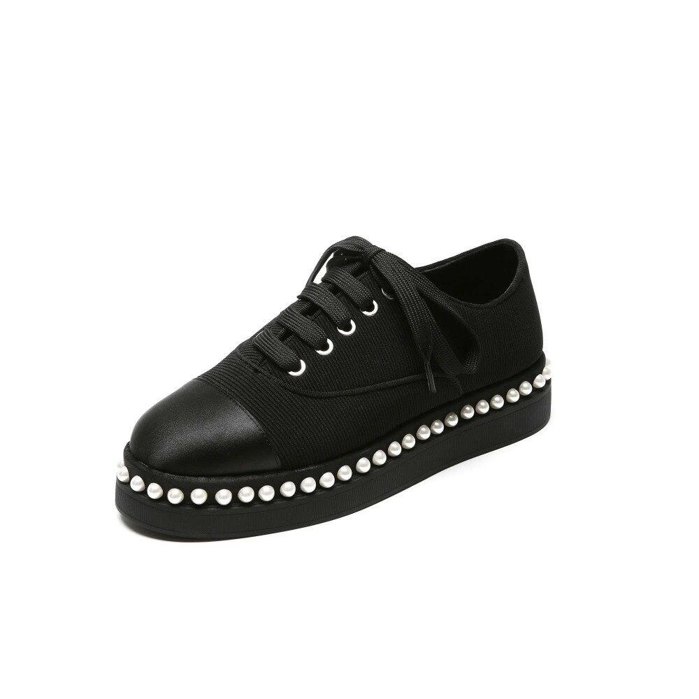 2019 nueva llegada Hada vintage británico estilo conciso punta redonda baja perlas decoración satén cordones zapatos de calle L44-in Zapatos de tacón de mujer from zapatos    2