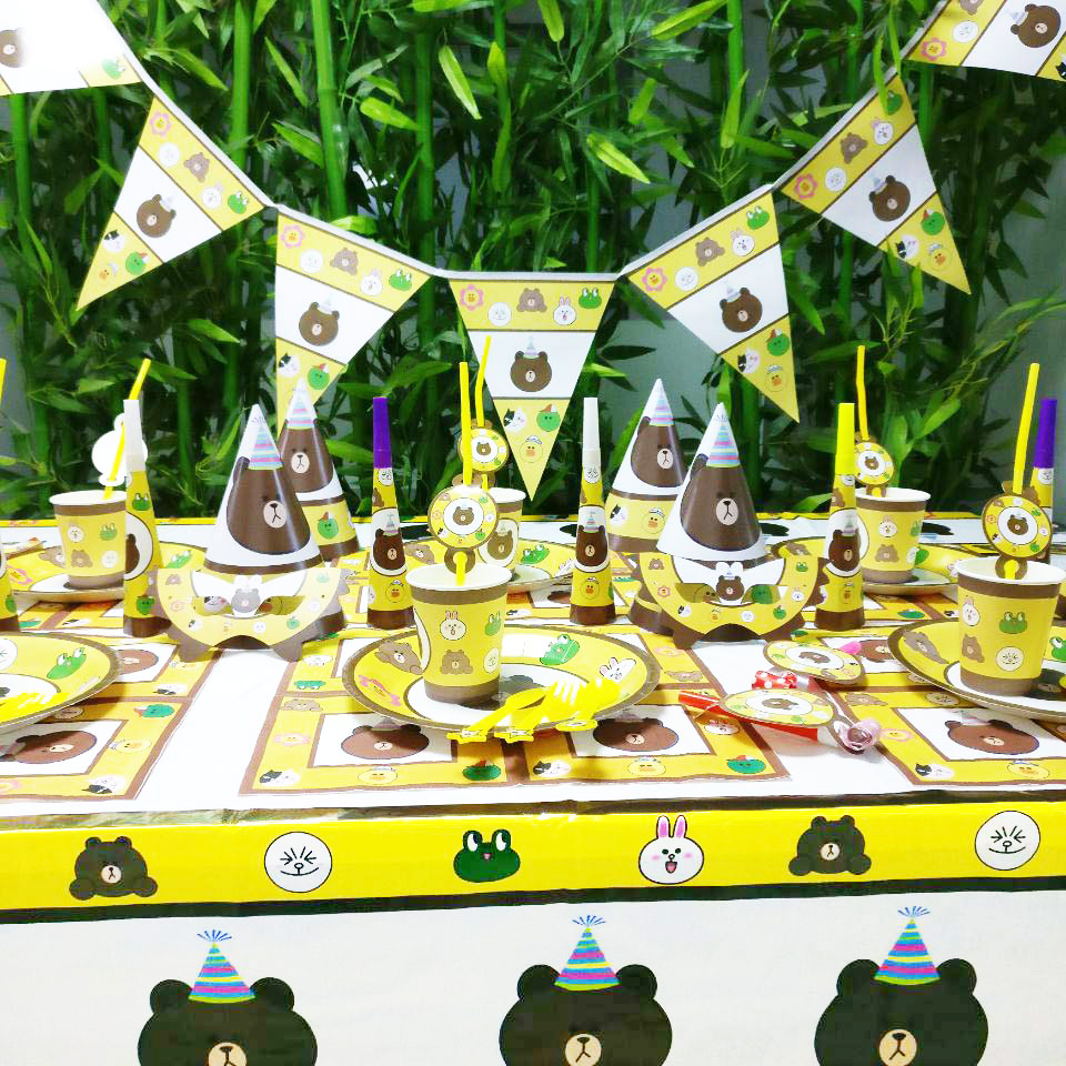 Brown Bear Kids Baby Birthday Party Decorations Kids Girl And Boy Disposable Tableware Party Supplies Party Decoration Set in Disposable Party Tableware from Home Garden