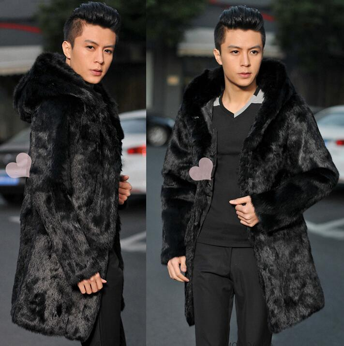 Winter autumn thicken thermal mink hair fur leather jackets men casual mens medium-long coats outerwear fashion hooded black