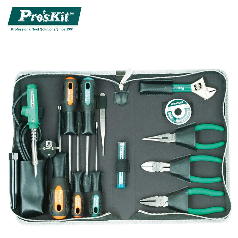 Pro'skit PK-2086B 14pcs Tool Box Tool Kit Home Hardware Tools Set Repair Tool Set Pliers Screwdriver Wrench Set soldering iron